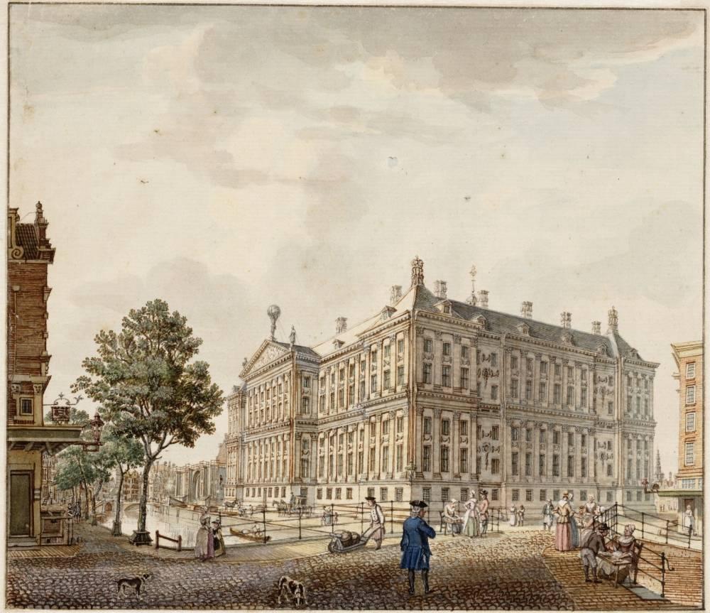 Paleis op de Dam in Amsterdam. Tekening Jan de Beijer, ca. 1760 (Stadsarchief Amsterdam)